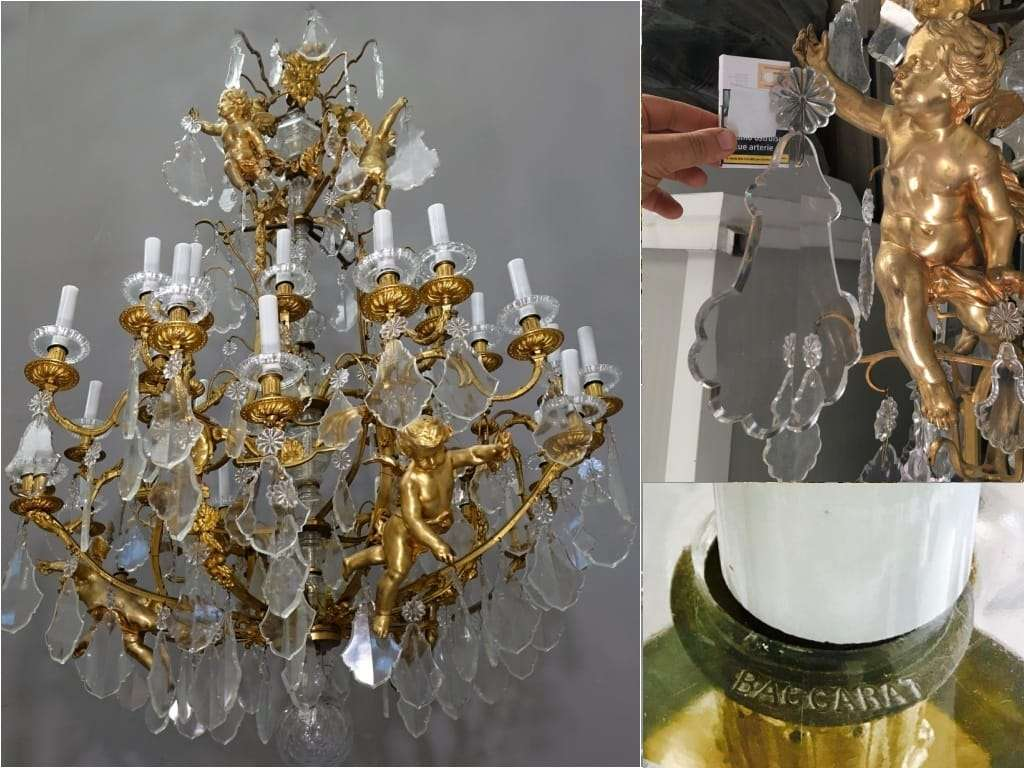 Grande lampadario cristallo baccarat bronzo dorato