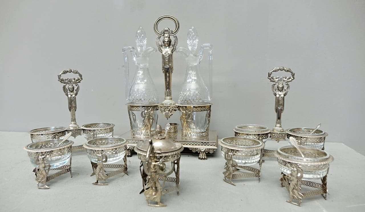 Servizio da tavola in argento Luigi XVI fine 700  salini oliera  0717015