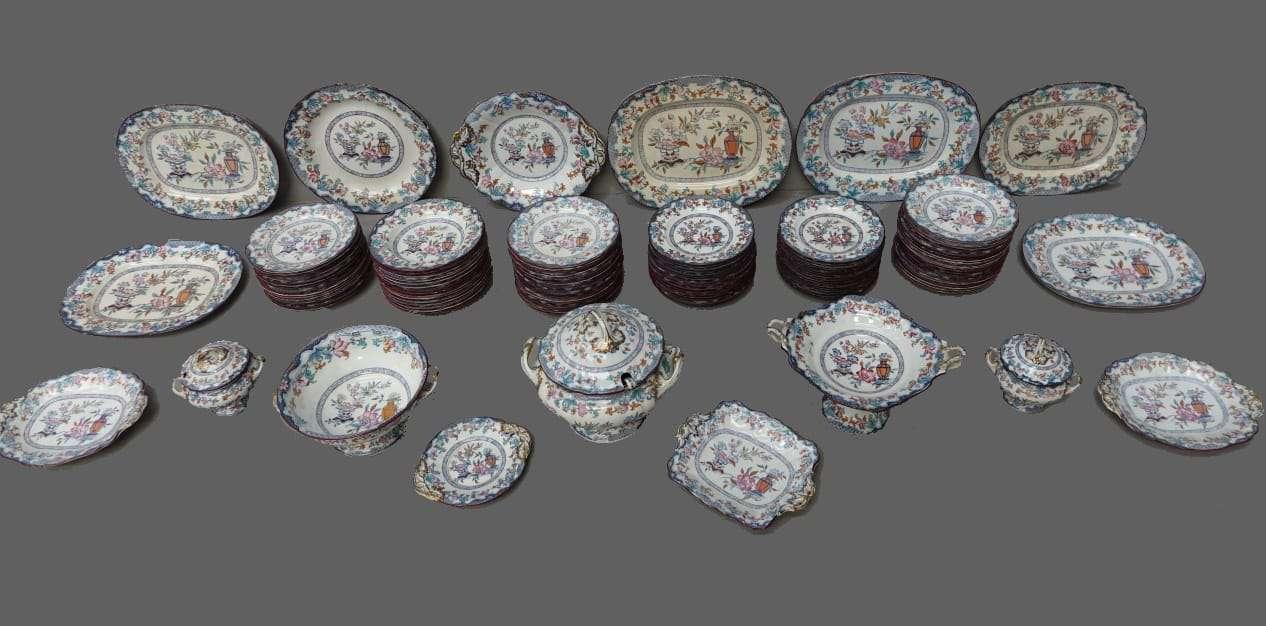 Servizio di piatti ceramica dipinta Inghilterra Poonah m&c  0570031