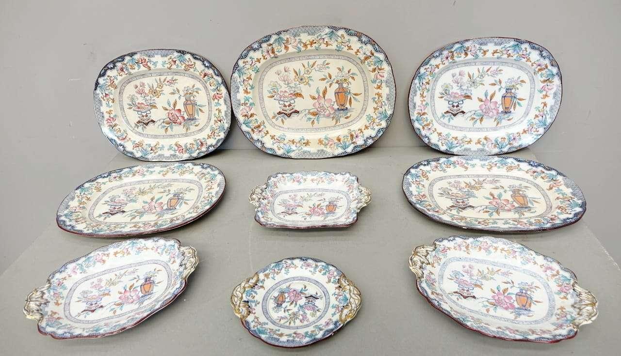 Servizio di piatti ceramica dipinta inghilterra poonah m c for Servizio di piatti