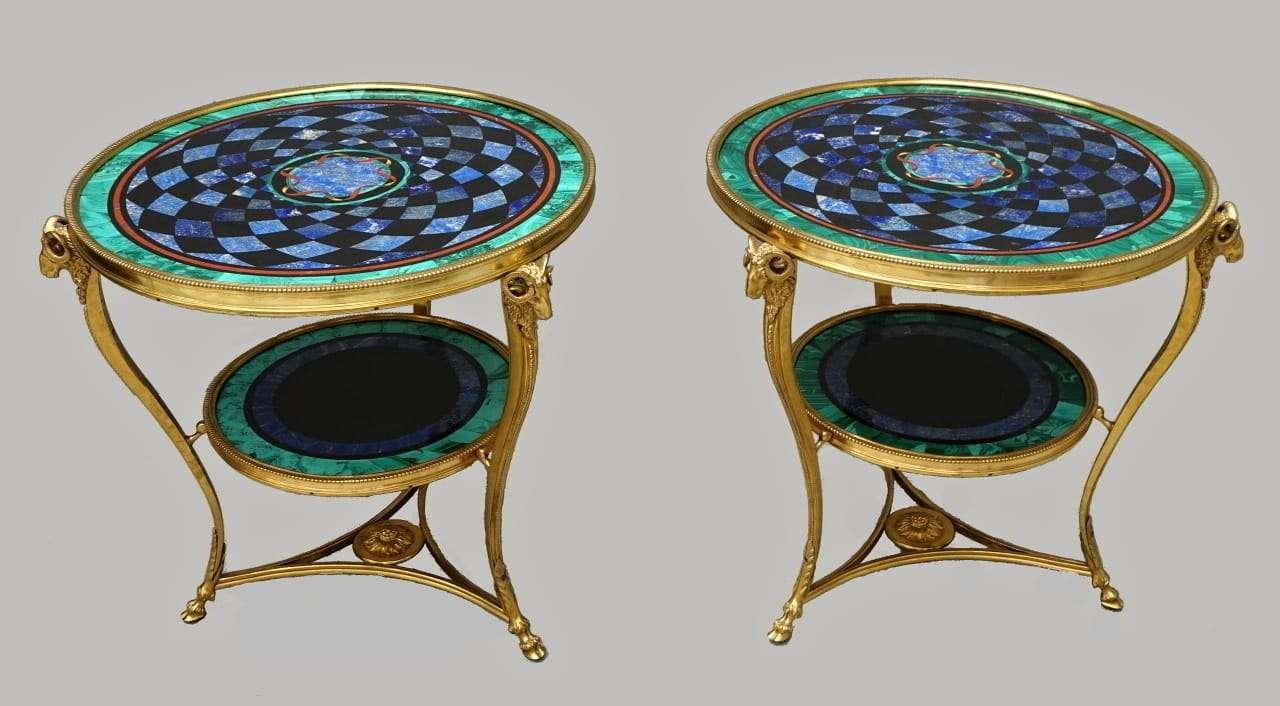 Tavolini in bronzo dorato lapislazzuli malachite azzurrite