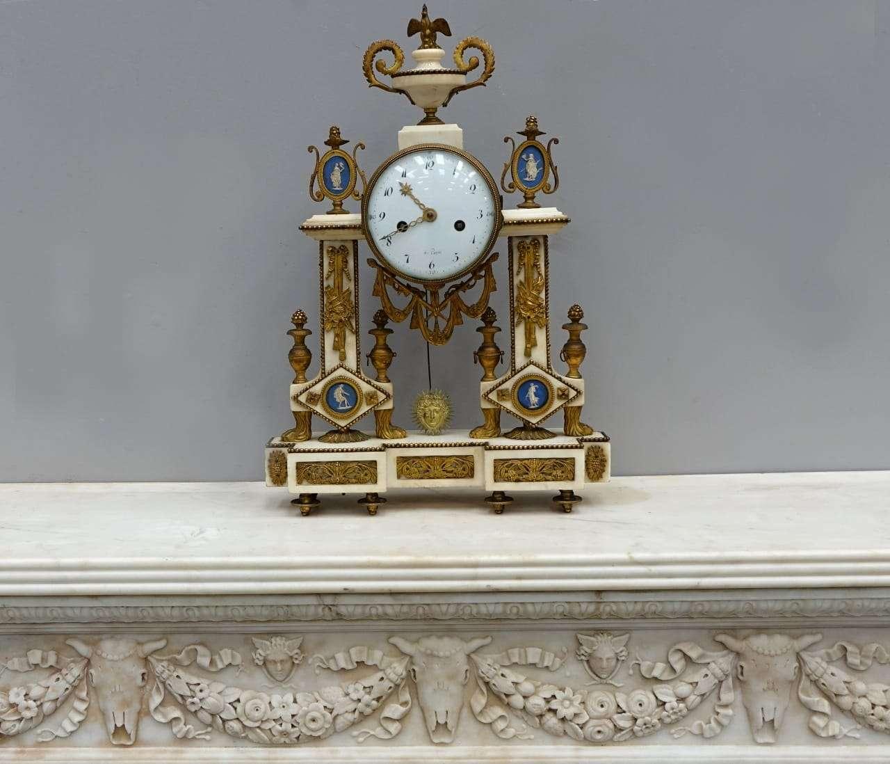 Orologio francese Luigi XVI marmo e bronzo