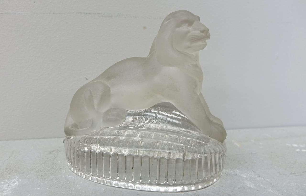 Scultura cristallo baccarat depose leone
