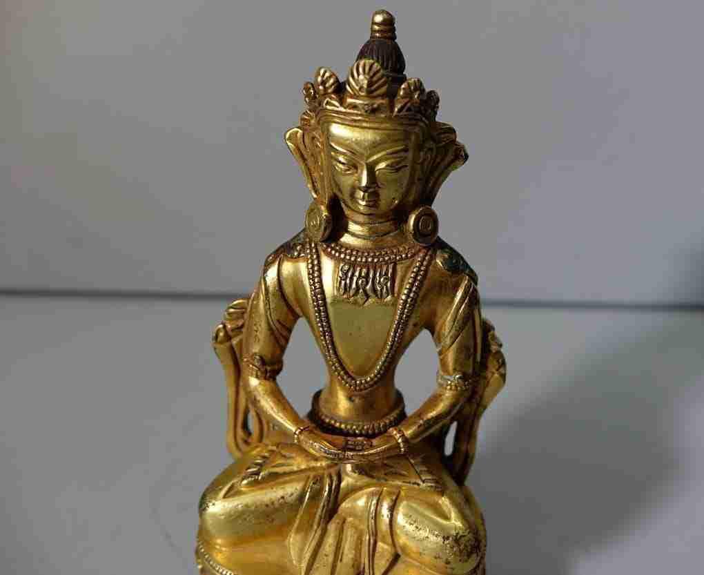 Scultura in bronzo dorato cinese buddha gilt bronze 0270051