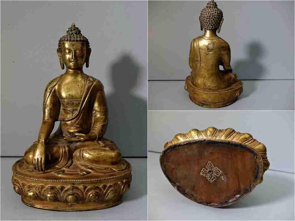Scultura bronzo dorato buddha Sakyamuni 0270050