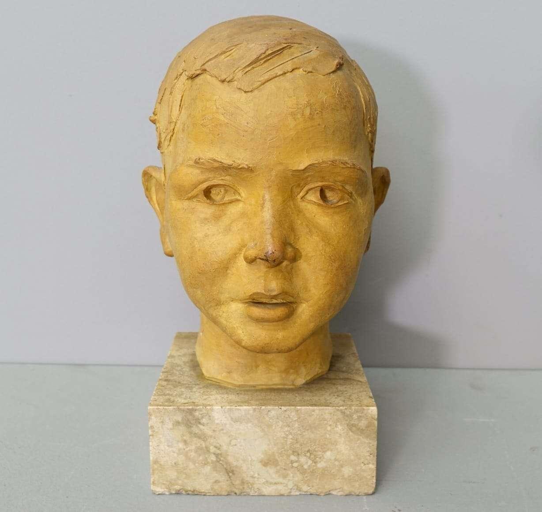 Scultura terracotta testa bambino