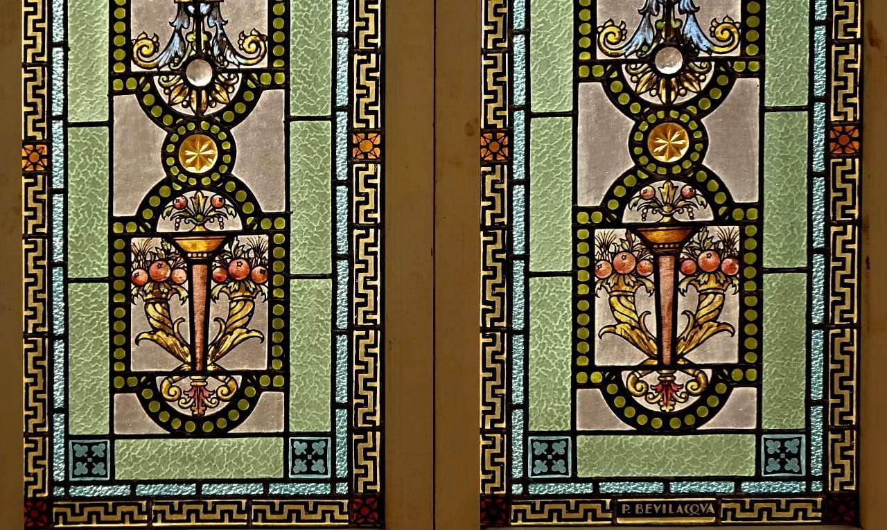 2 Ante vetrata vetrate liberty pietro Bevilacqua Palermo art nouveau1017008