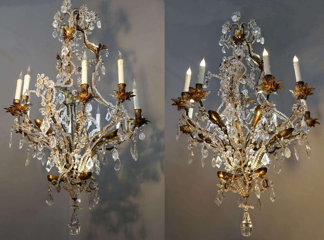 coppia di lampadari in cristallo di rocca epoca 1730 torino