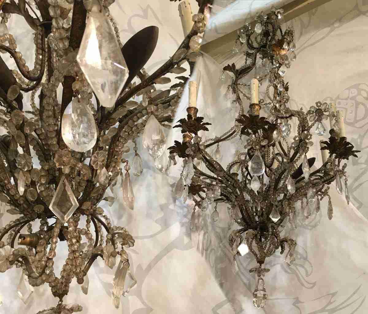 coppia di lampadari in cristallo di rocca epoca 1730 torino 1017014