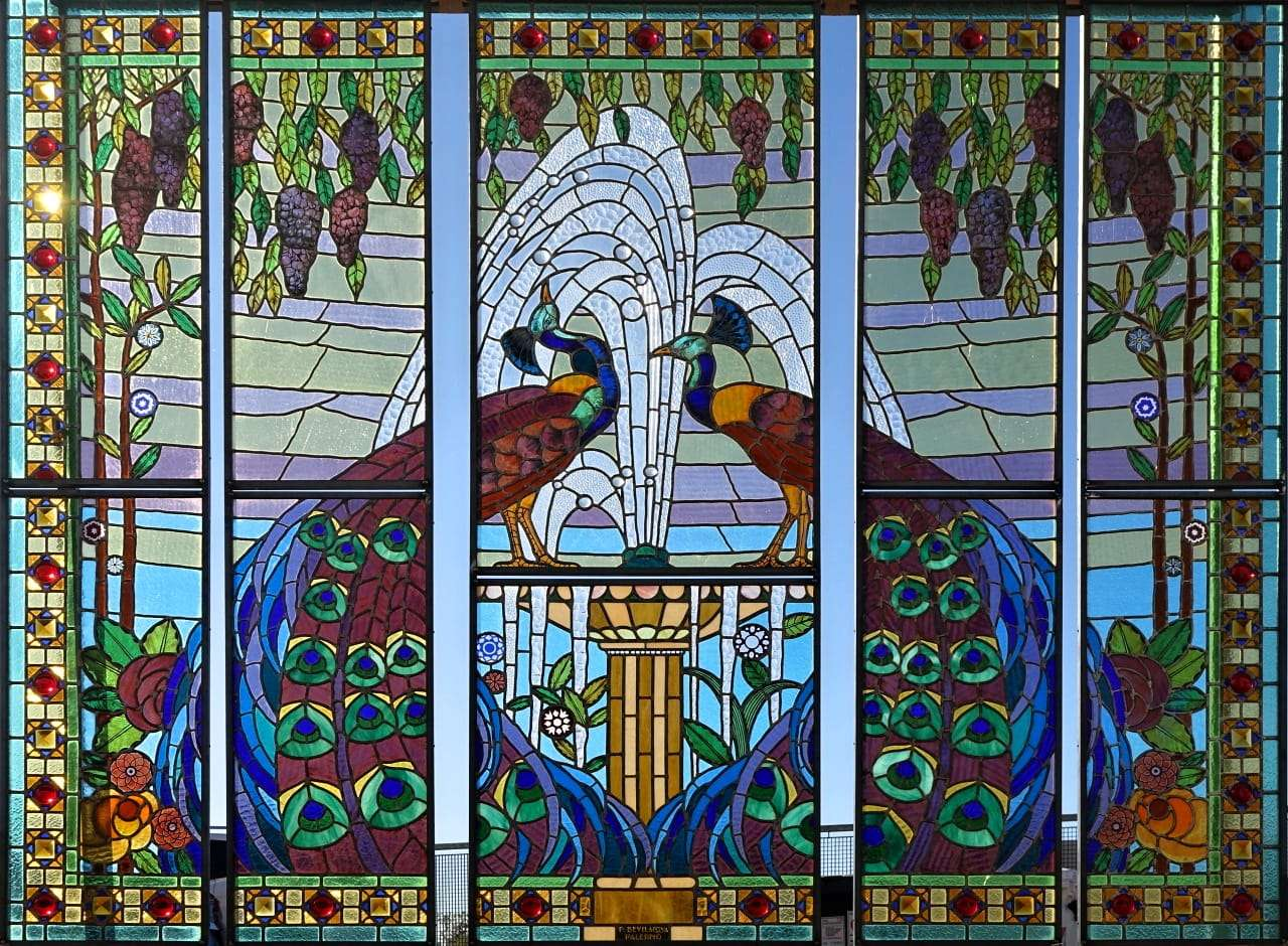 Vetrate liberty pavoni Pietro Bevilacqua Palermo art nouveau