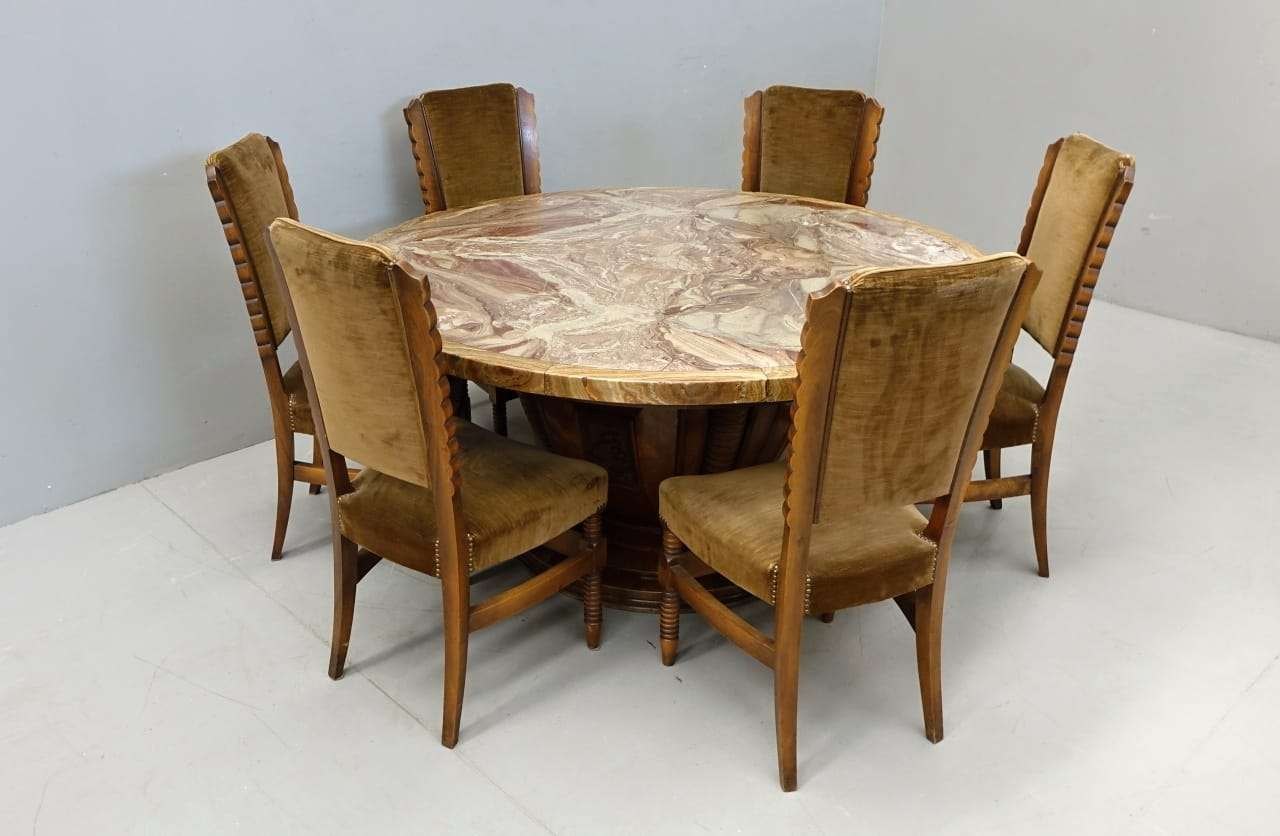 Sala da pranzo art deco tavolo rotondo in marmo for Tavolo rotondo da pranzo
