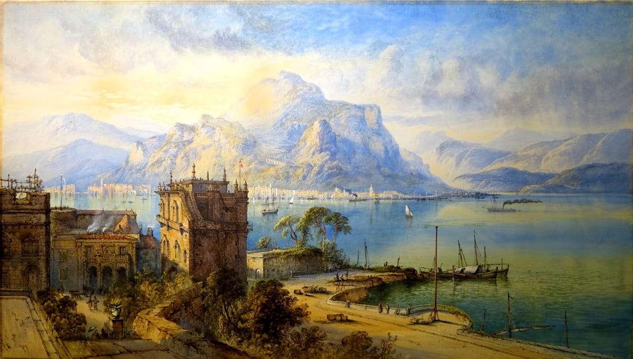 Dipinto veduta di Palermo palazzo butera acquerello gouache 0917033