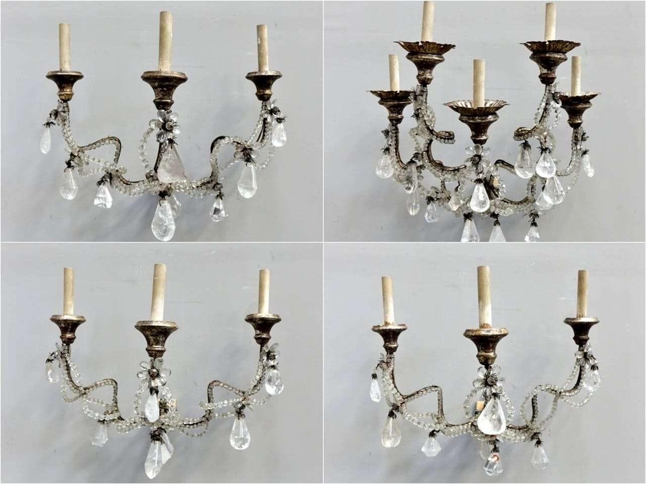 Lampada Cristallo Di Rocca Proprietà : Appliques in cristallo di rocca dorate a mecca luigi xiv