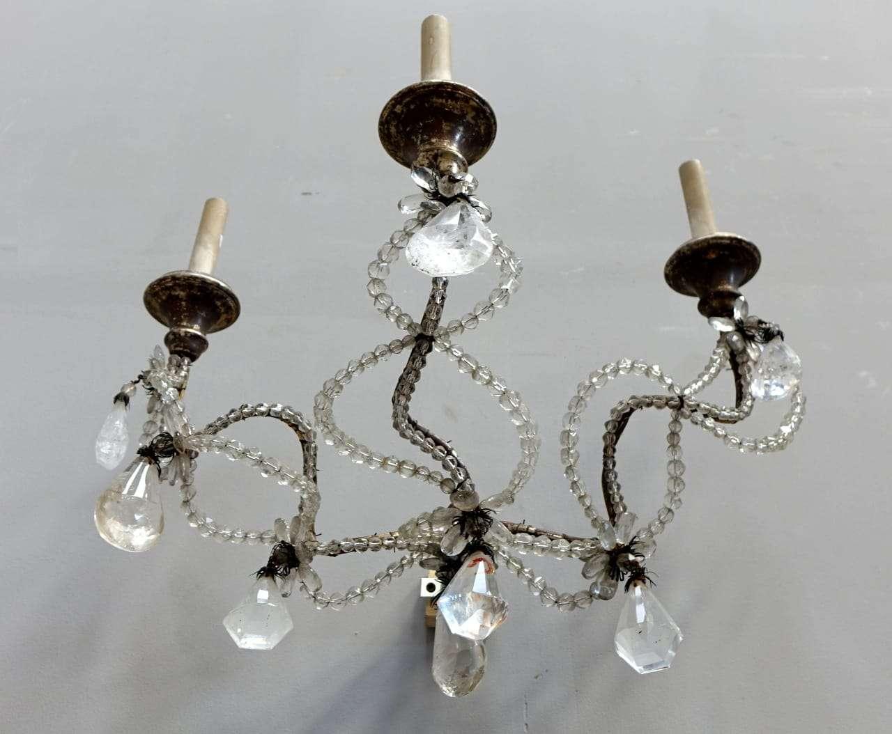 4 appliques in cristallo di rocca 700 dorate a mecca luigi xiv