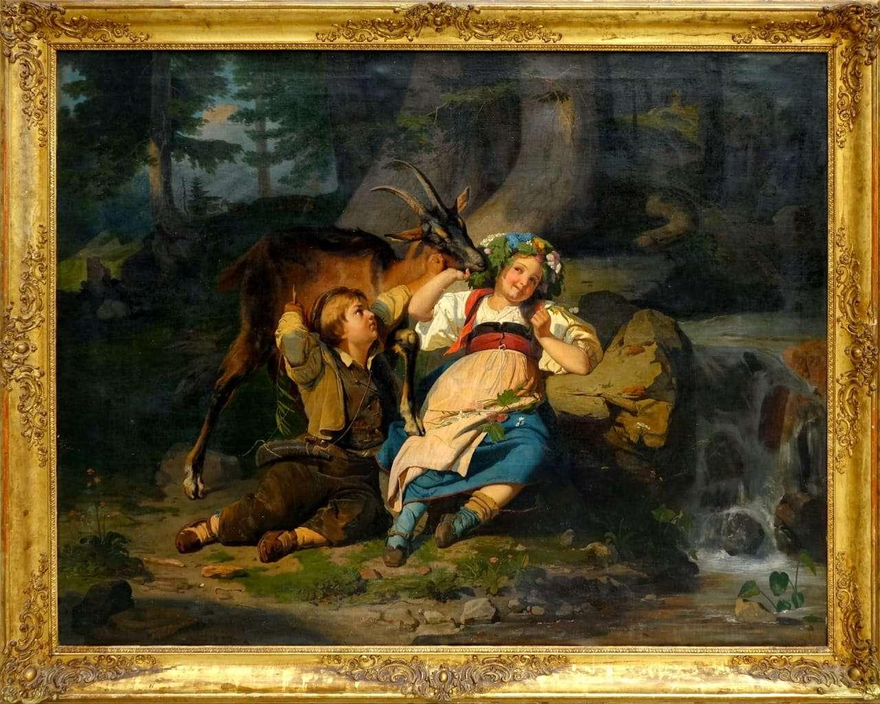 Dipinto olio su tela scena bucolica fanciulli paesaggio pastorelli montagna 1117002-17