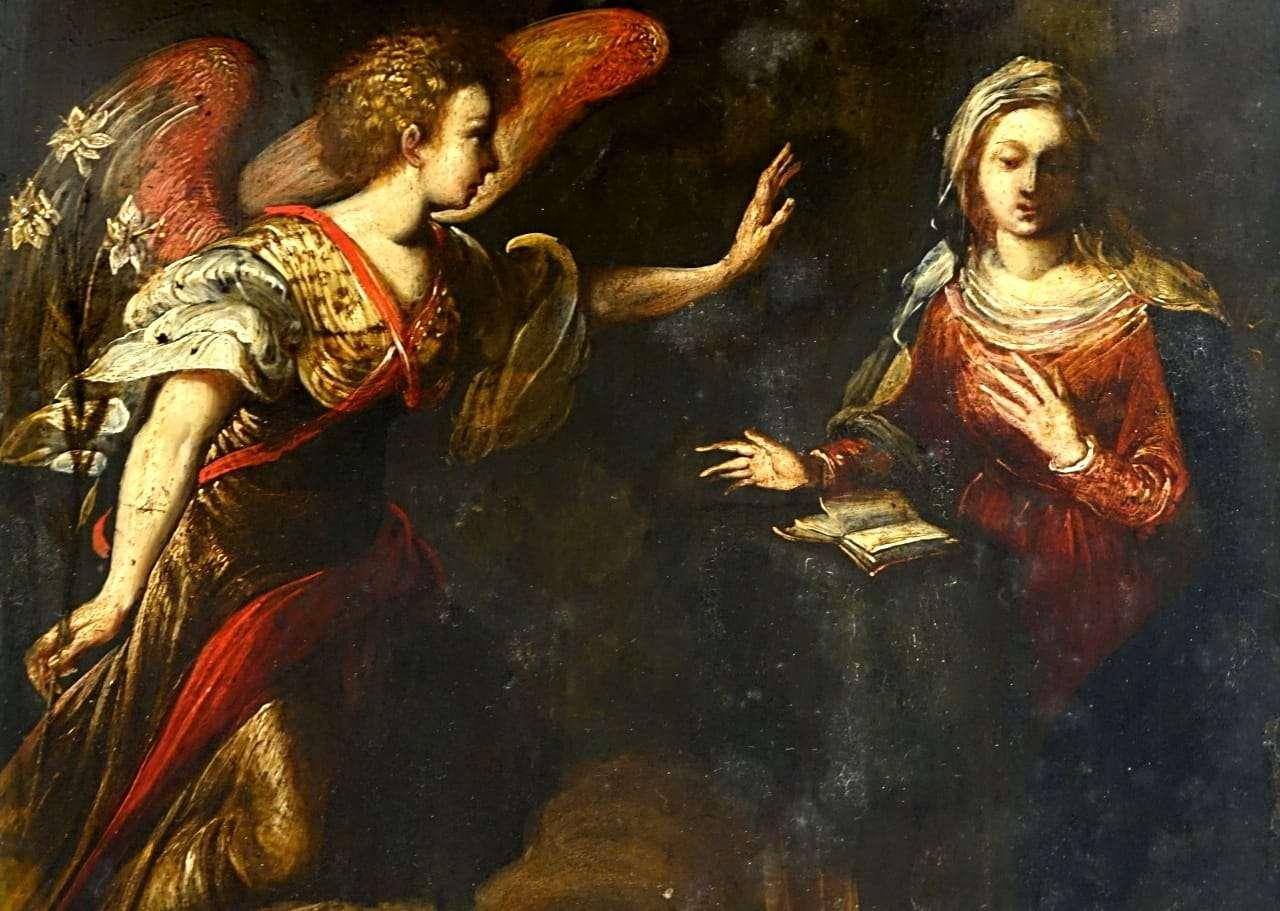Ardesia dipinta l'annunciazione Arcangelo Gabriele verona 0917037