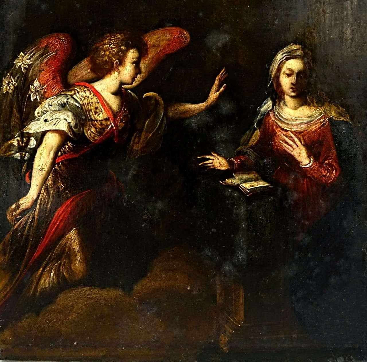 Molto Ardesia dipinta l'annunciazione Arcangelo Gabriele verona 0917037  EW75