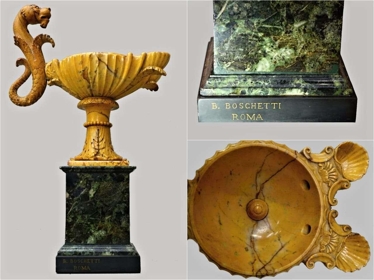 Alzata in marmo firmata benedetto Boschetti - Roma