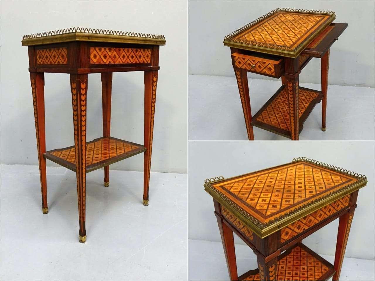 Tavolino da centro intarsiato neoclassico Napoleone III