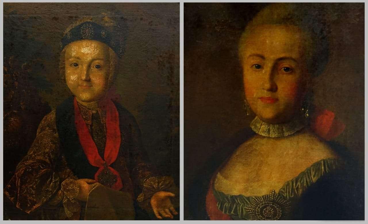 Coppia di dipinti ritratti settecenteschi olio su tela 0118006
