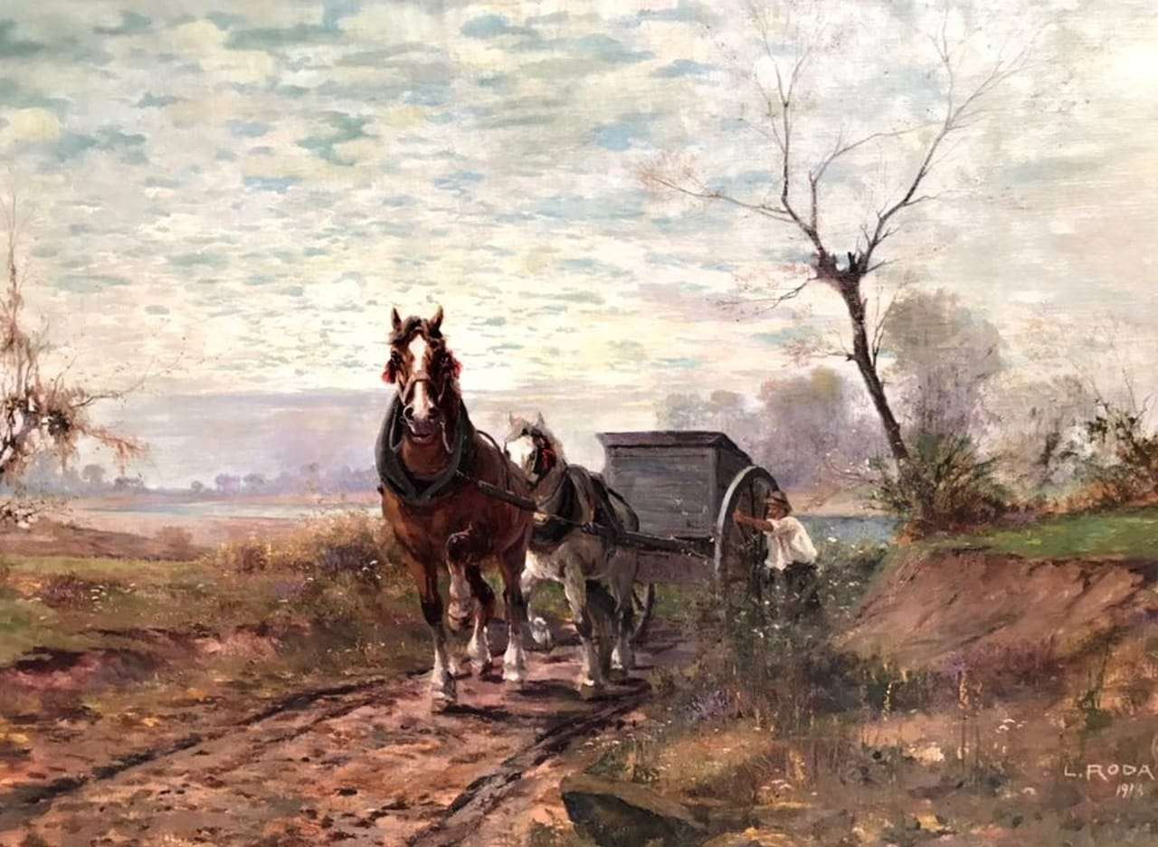 leonardo roda 1918 dipinto raffigurante carro trainato da cavalli