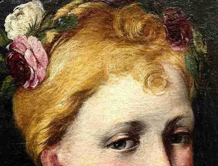 Dipinto Antonio Gherardi ritratto di fanciulla, gia' collezione Costantino Nigro