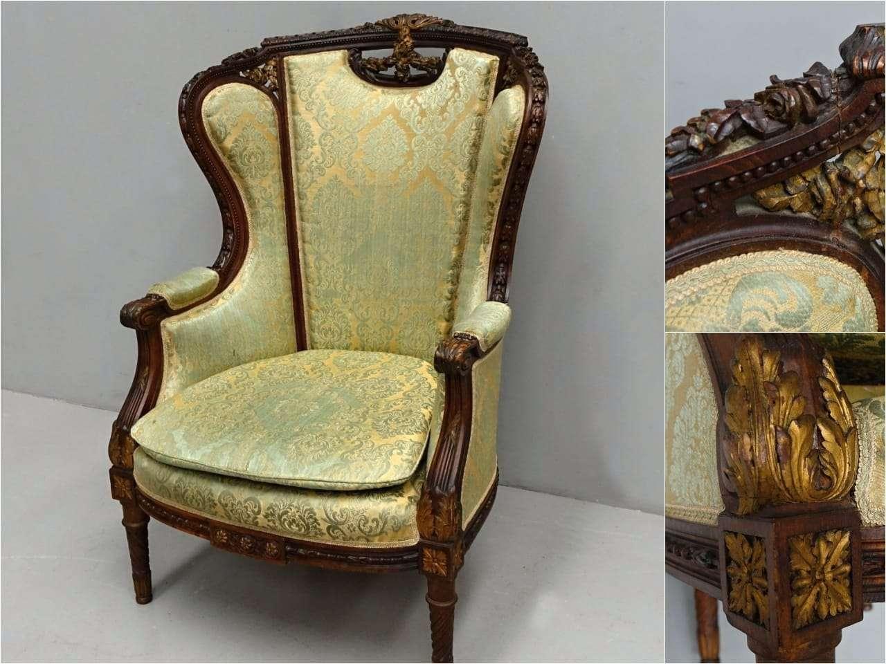 Poltrona bergere Luigi XVI intagliato
