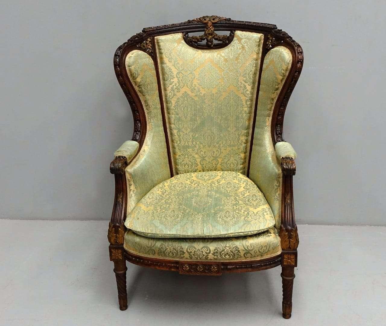 Poltrona bergere Luigi XVI intagliato 0118007 | Gognabros.it