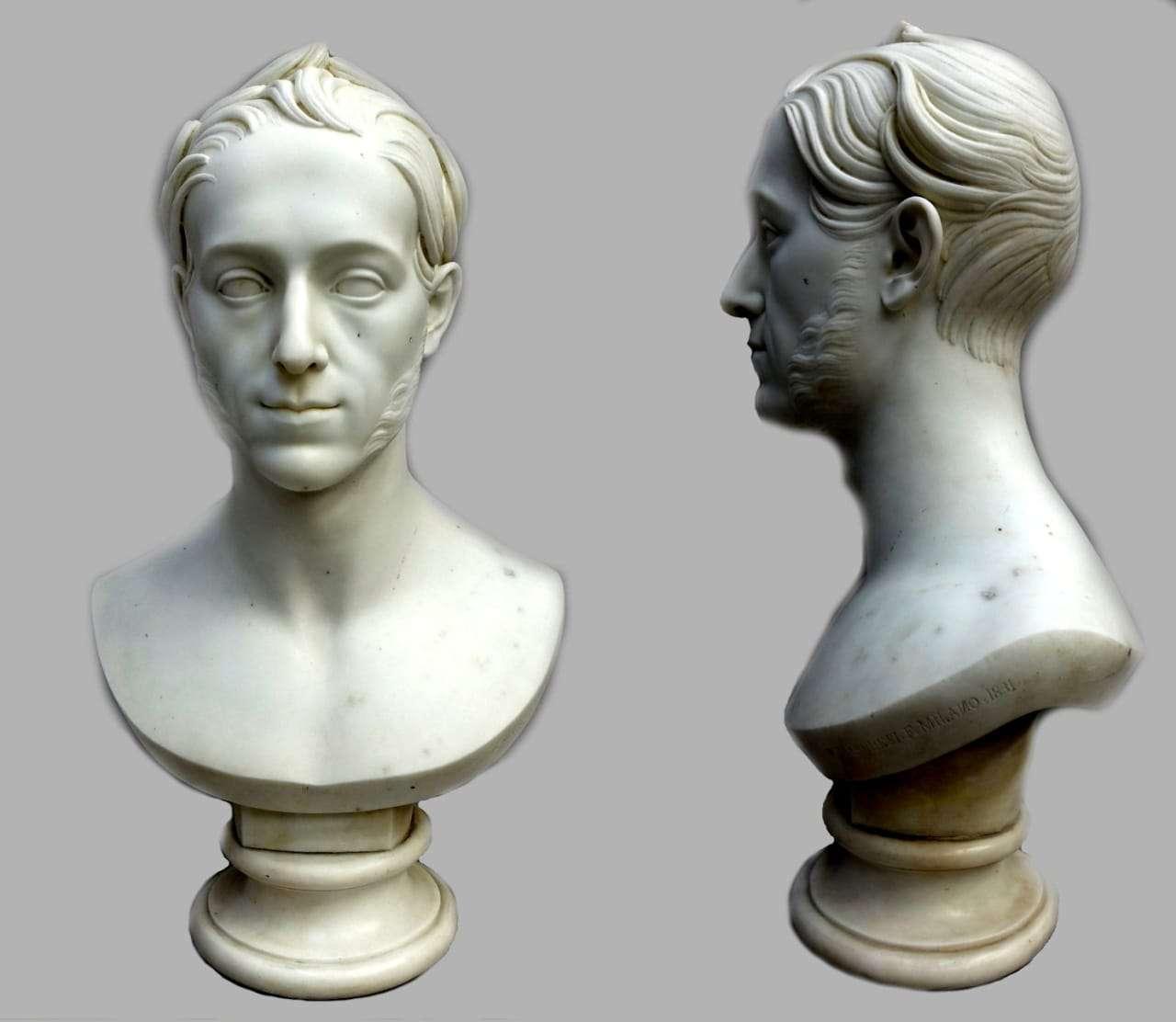 Busto neoclassico marmo di carrara firmato Pompeo Marchesi 1831