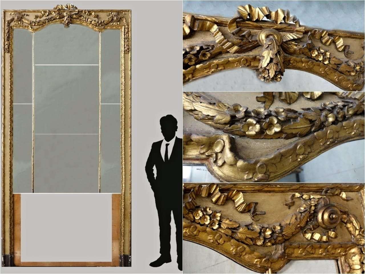 Grande specchiera dorata fondosala console Luigi XVI 1117002-13