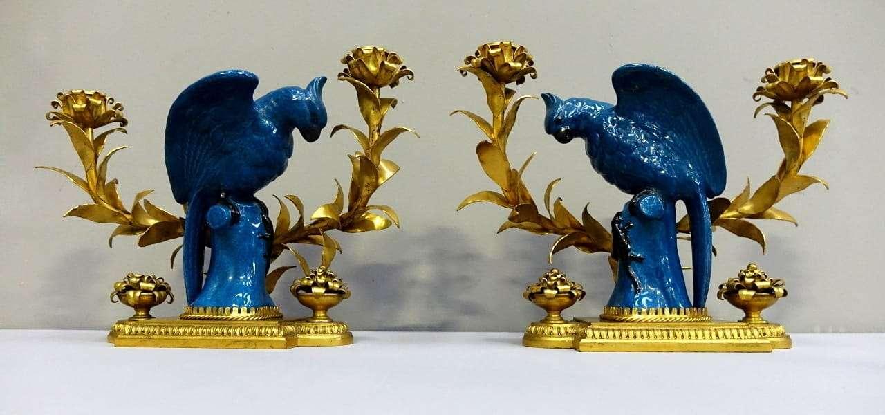 Coppia applique in bronzo e porcellana