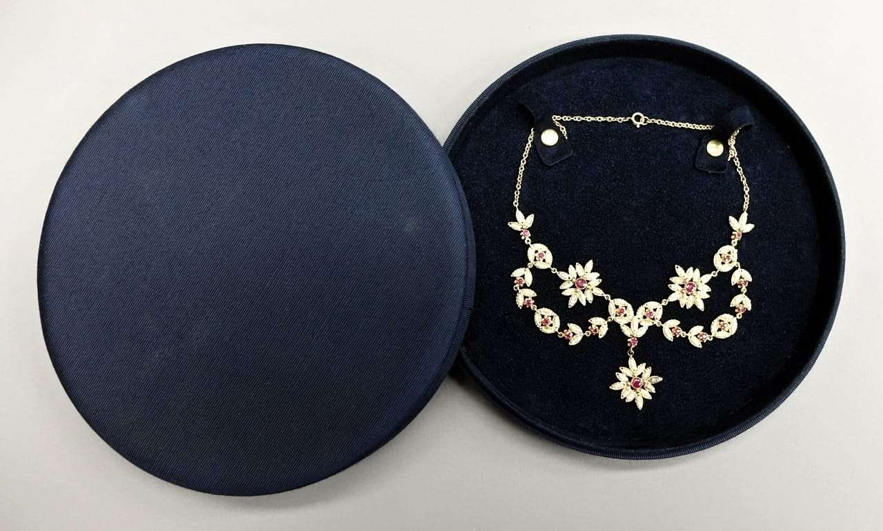 Collana oro giallo perle rubini  0917041