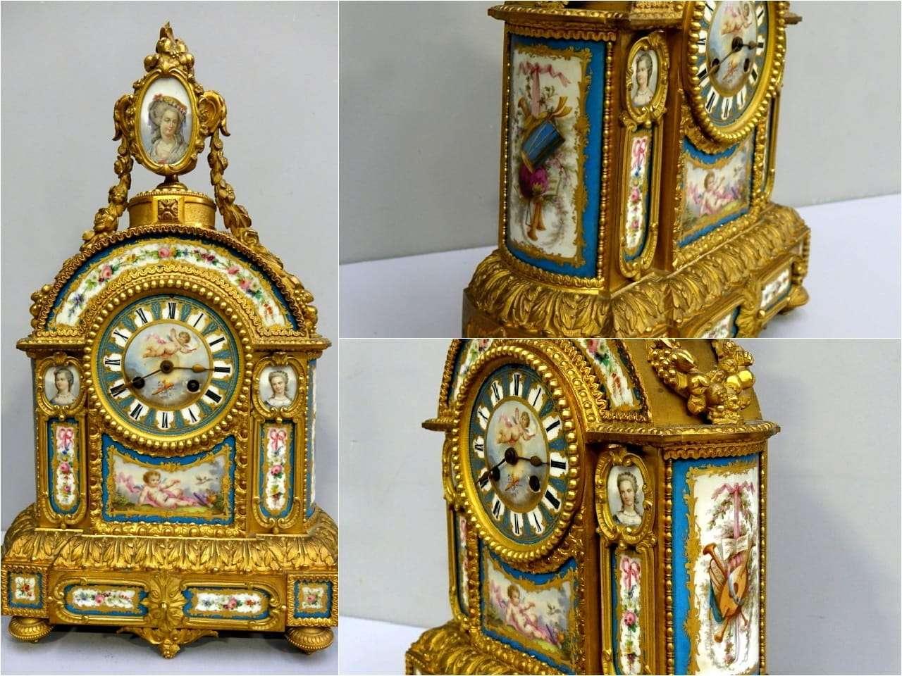 Orologio in bronzo dorato e porcellana Sevres