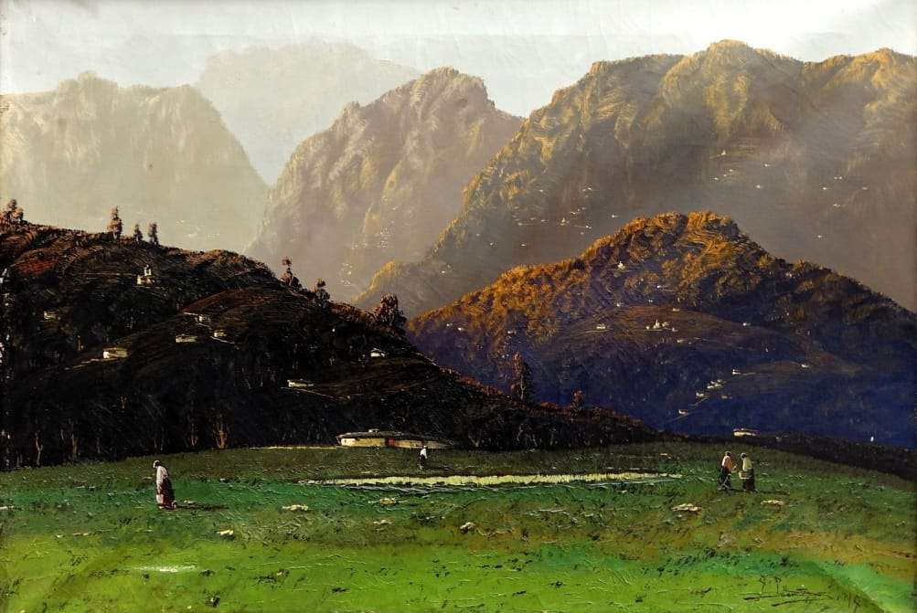 Quadro dipinto paesaggio val camonica Giuseppe Pessina