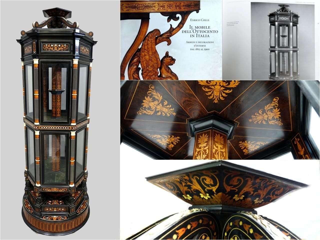 Irripetibile Vetrina a colonna espositore museale opera di Federico Lancetti
