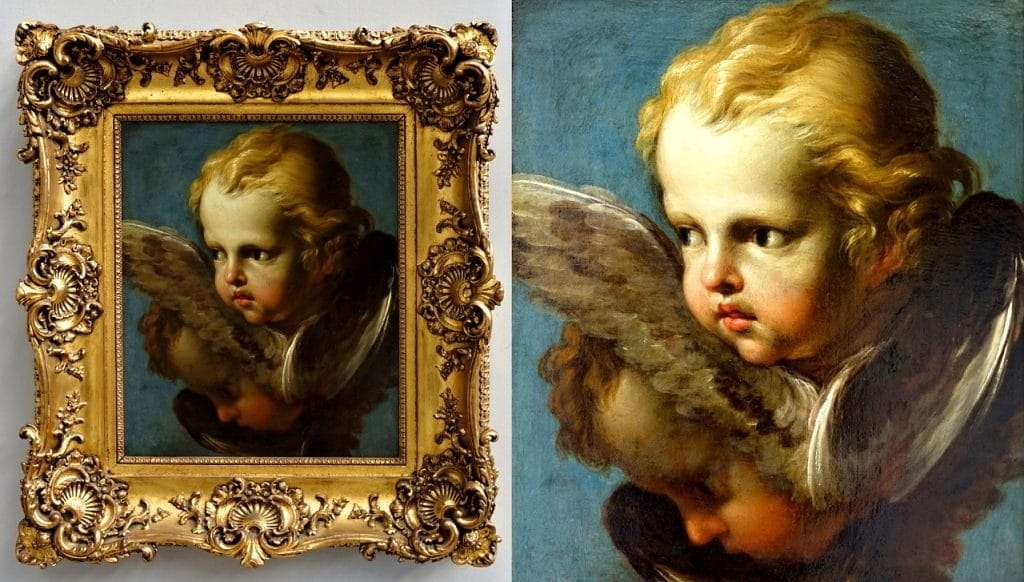 Dipinto olio su tela raffigurante cherubini Putti