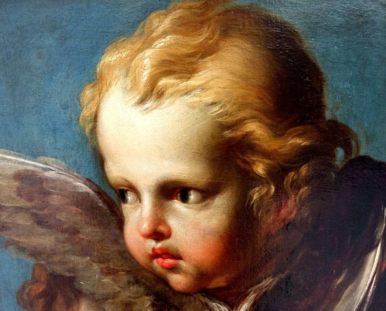 Dipinto olio su tela raffigurante cherubini Putti 0218139