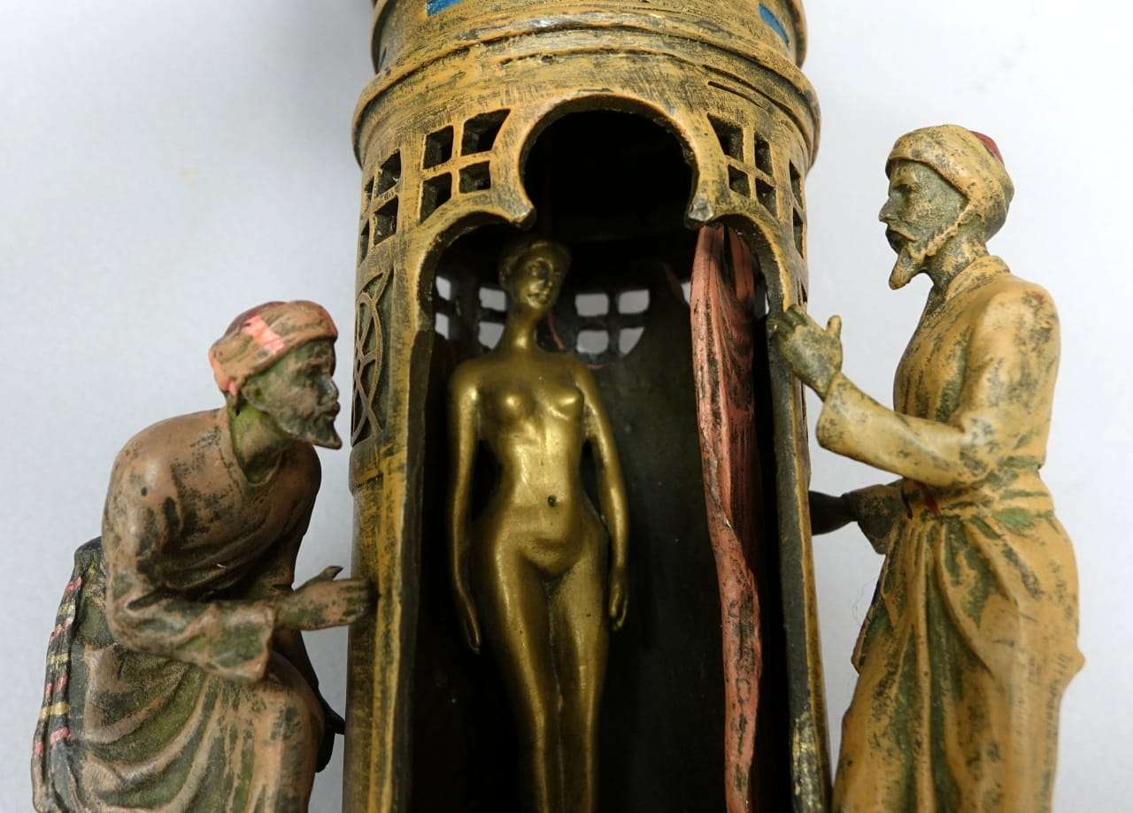 Scultura in bronzo erotico orientalista Franz Xaver Bergman