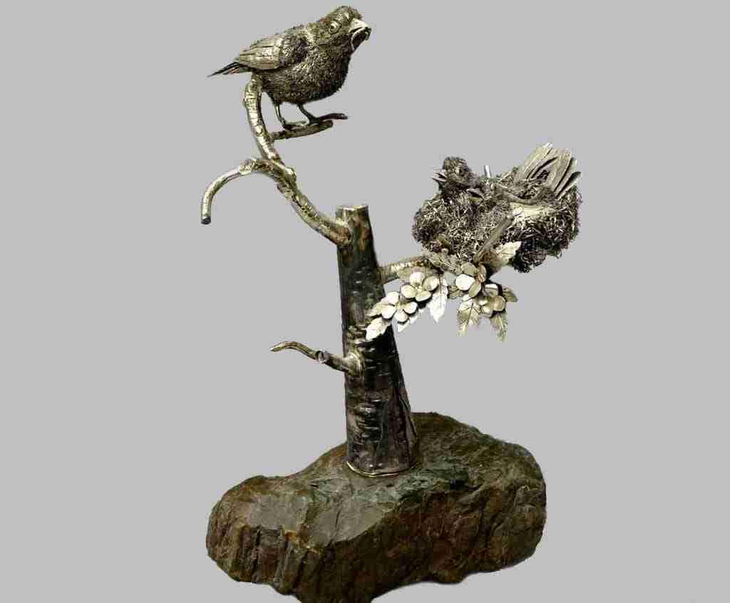 Argento Buccellati scultura con uccelli