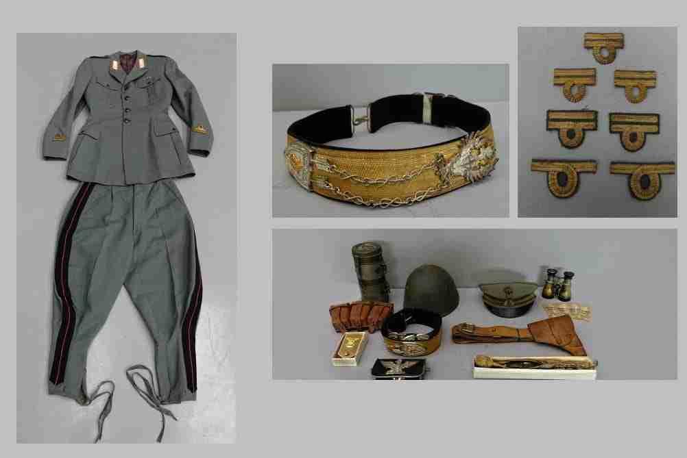 Militaria divisa militare alta uniforme medaglie berretto elmetto