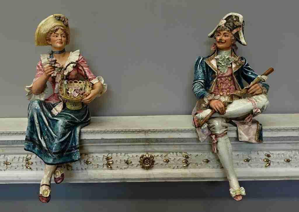 Coppia statue ceramica dipinta grandi dimensioni 0618017