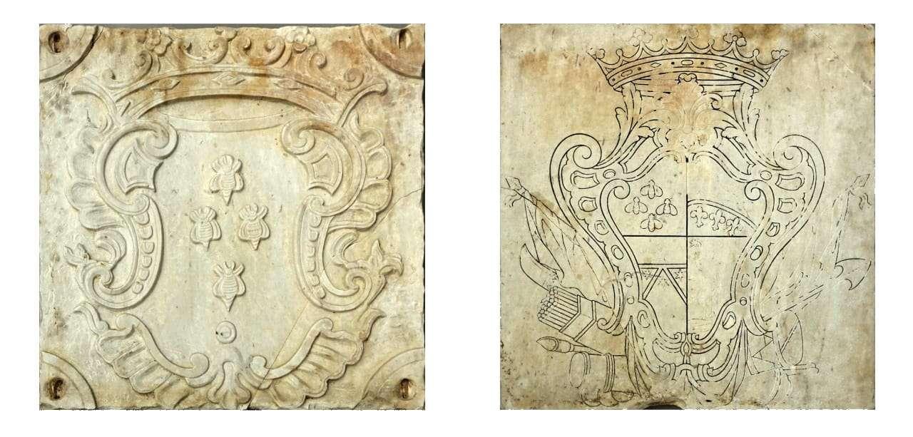 Stemma nobiliare in marmo bianco 0618004