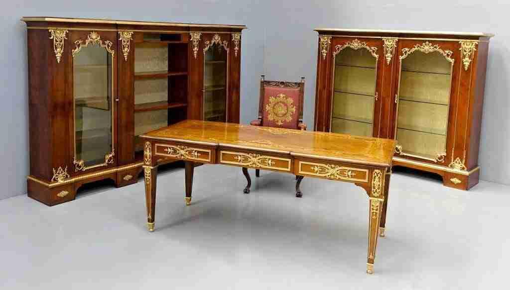 Studio completo libreria scrivania bronzo dorato  0518019