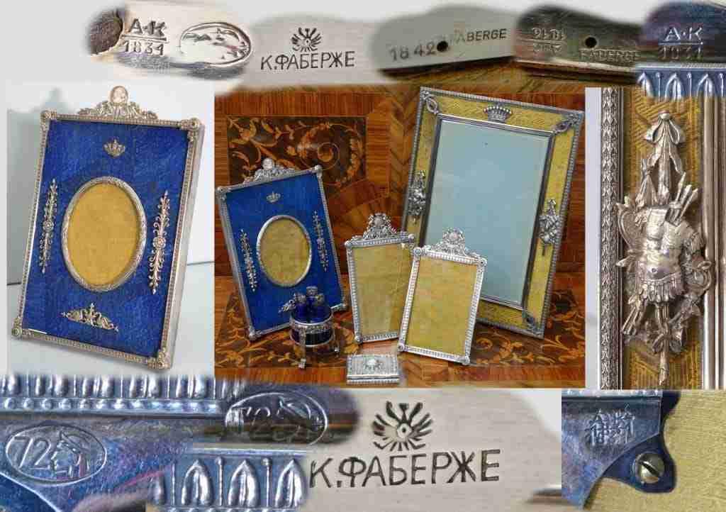 Gruppo oggetti cornici argento Faberge