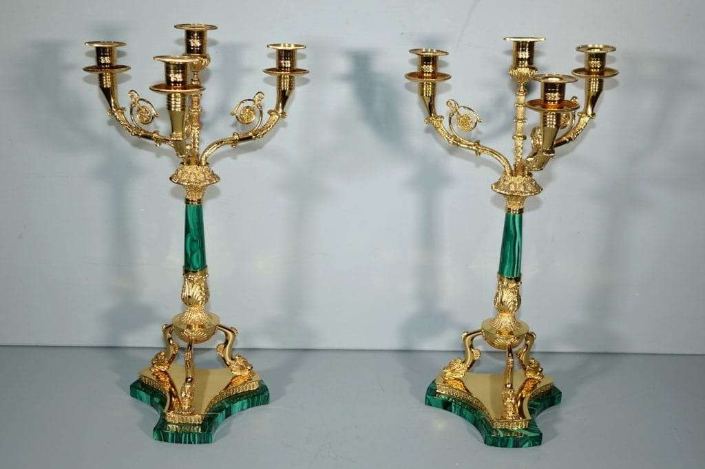 candelieri in argento vermeil e malachite 0170011
