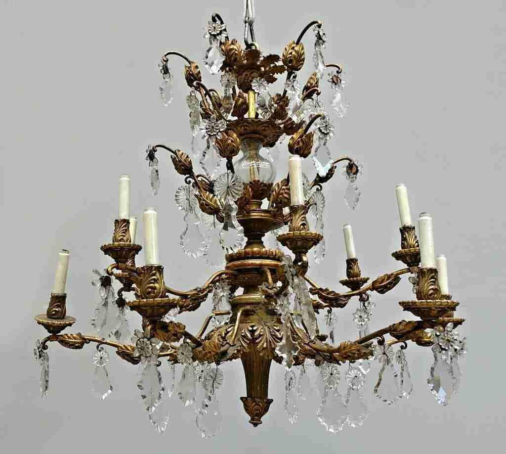 Lampadario 12 luci dorato oro foglia e cristallo 0618033