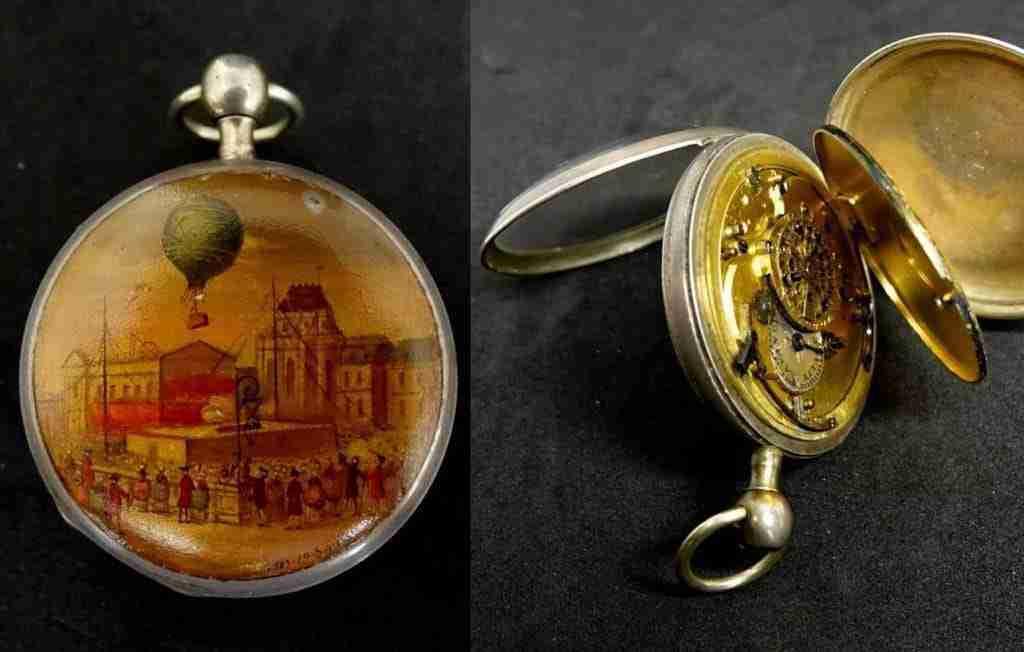 Orologio da tasca miniatura mongolfiera anno 1783