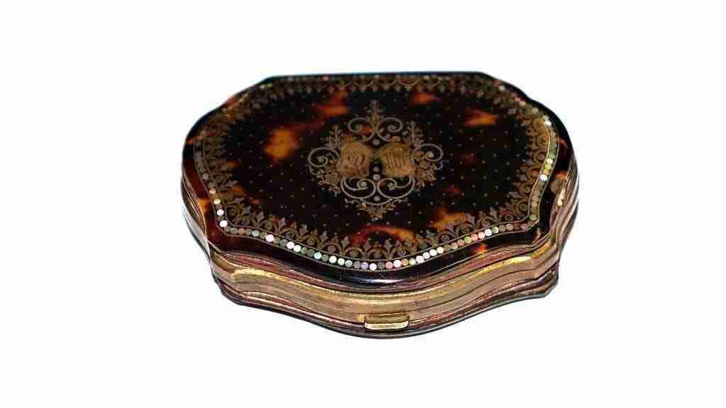 scatola borsellino tartaruga oro e madre perla