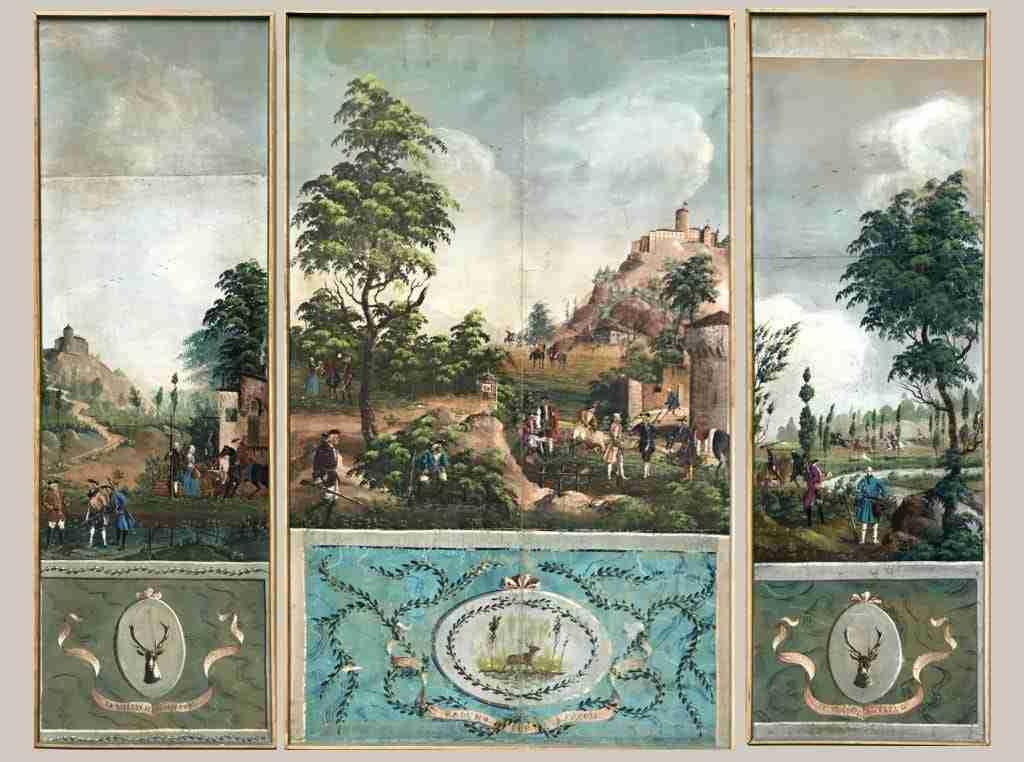 papier peint luigi XVI torino epoca 700 4 panelli scene di caccia 0818001