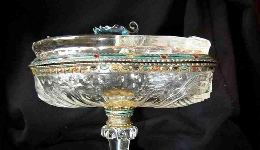 Coppa in cristallo di rocca argento e smalti